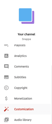 youtube channel customization dropdown