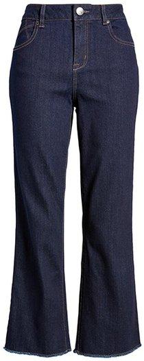 1822 Denim high waist frayed crop bootcut jeans | 40plusstyle.com