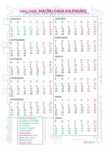 Mācību gada kalendārs 2015./2016. gadam