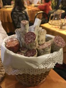 Basket of sausage at Gli Angeletti, Rome, Italy