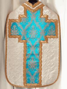 Paramento Fiducia Tantum - Bianco con croce azzurra