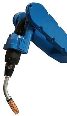 Image of a TOUGH GUN TA3 Robotic Air Cooled MIG Gun on a Motoman robot