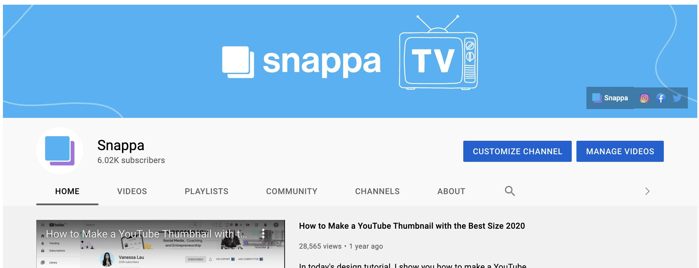 youtube snappa channel art
