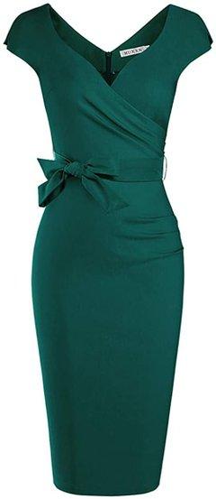 MUXXN wrap tie waist cocktail dress | 40plusstyle.com