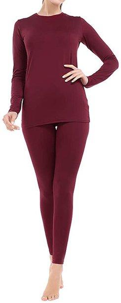 MANCYFIT fleece lined thermal underwear set | 40plusstyle.com
