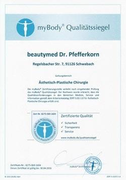 mybody Zertifikatsurkunde – Dr. Pefferkorn beautymed