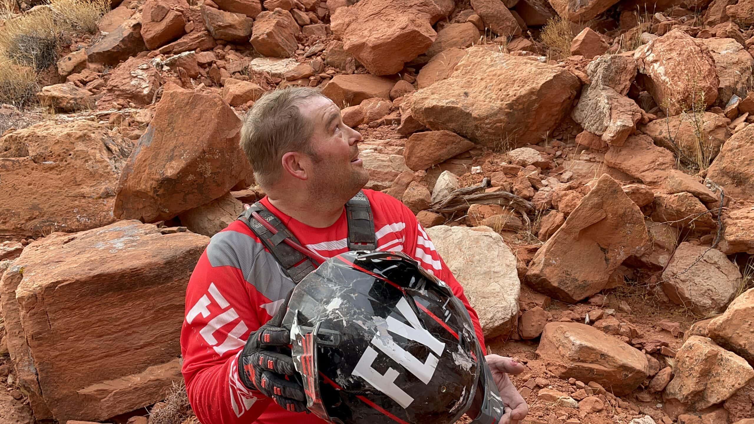 Dirt bike helmet crash