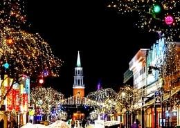 Mercado navideño de Savannah y desfile de luces en barco por el puerto