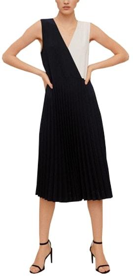 Mango pleated bicolor dress | 40plusstyle.com