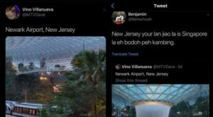 Benjamin Whoah MTVDave Trolls Changi Jewel to be in Newark Airport New Jersey gets Perfect comeback