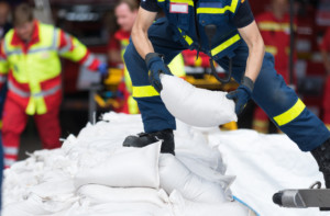 Preparing for a storm with sandbags