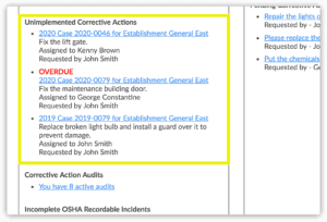 If there are any corrective actions that have not been put in place, Safety 101 gives the user a heads up