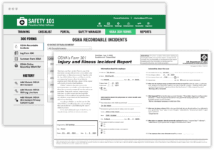 Two screens of Safety 101's software that show capability to generate all your OSHA 300 injury forms