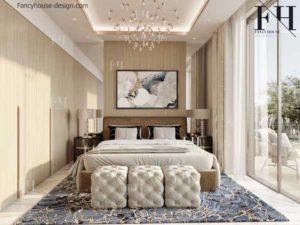 Master bedroom in light colors.