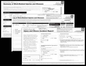 Each OSHA 300 injury form: Incident Form 301, Log Form 300 and Summary Form 300A