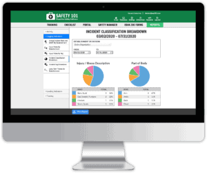Reports dashboard of Safety 101's safety management system that shows you leading and lagging indicator reports
