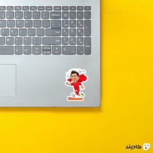 استیکر لپ تاپ لواندوفسکی کارتونی روی لپتاپ