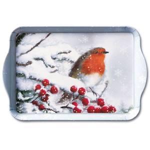 Ambiente dienblad Robin In Snow 13x21cm
