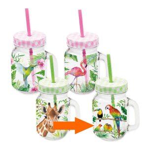 PPD drinkglas Tropical Papegaaien