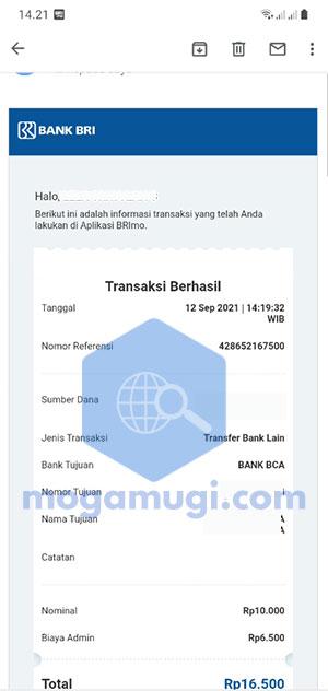 Email Slip Transaksi Dari BRI