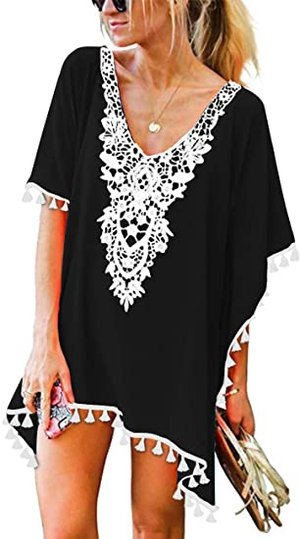 CPOKRTWSO Tassel Swimsuit Cover Up | 40plusstyle.com