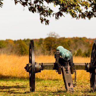 Civil War Canon shown from behind, Manassas Battlefield Park