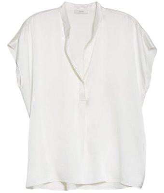 Vince shirred silk satin blouse | 40plusstyle.com