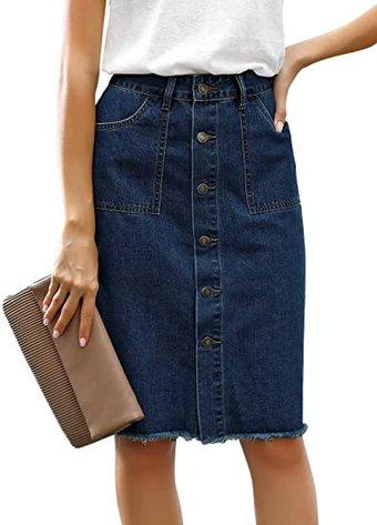 luvamia button down frayed raw hem denim skirt | 40plusstyle.com