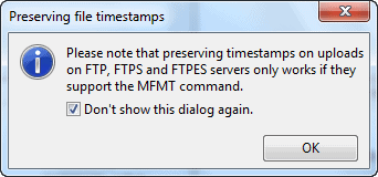 FTP servers must support MFMT command - FileZilla