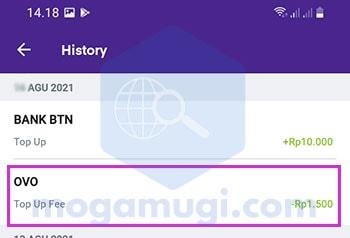 Potongan Biaya Top Up OVO di BTN Mobile