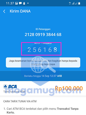 Kode Transaksi Penarikan DANA di ATM BCA