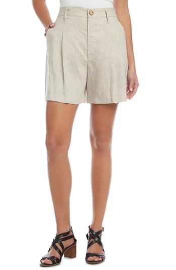 Karen Kane High Waist Pleated Linen Shorts   40plusstyle.com