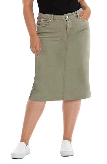 SLINK Jeans stretch cotton denim skirt | 40plusstyle.com