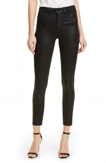 L'AGENCE Coated High Waist Skinny Jeans | 40plusstyle.com