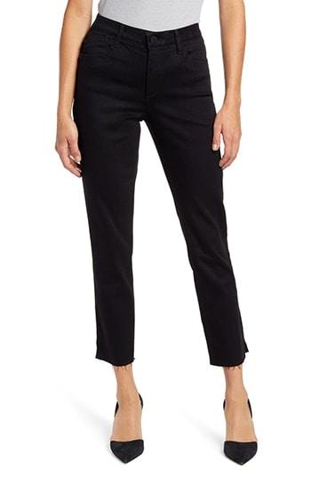 Wit & Wisdom Ab-Solution High Waist Slim Fit Raw Hem Crop Jeans | 40plusstyle.com