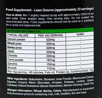 Lean Greens Nutrition Information