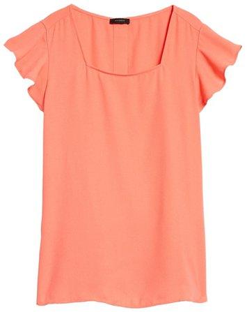 Halogen square neck flutter sleeve top | 40plusstyle.com