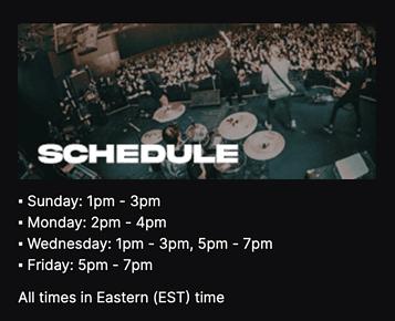 twitch stream schedule example