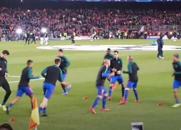 Barcelona Warm Up Before Game
