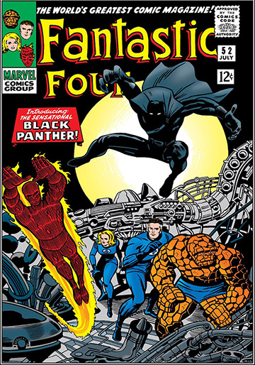 Black Panther's debut, Marvel Comics' Fantastic Four #52 in July of 1966. Comic book cover.