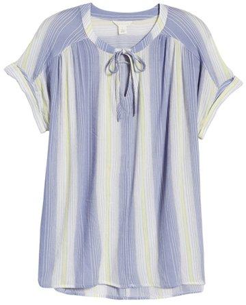 Caslon stripe tie neck top | 40plusstyle.com