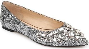 Jewel Badgley Mischka 'Ulanni' embellished glitter flat | 40plusstyle.com