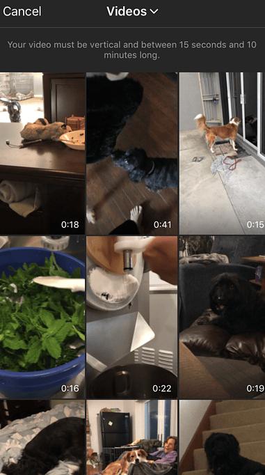 upload IGTV videos from camera roll