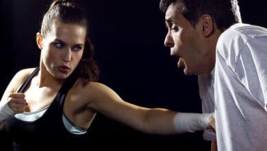 woman hitting man