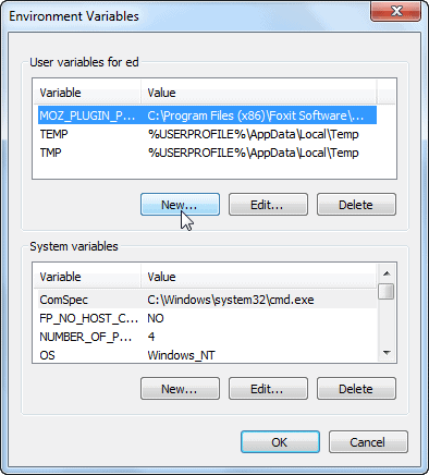 Windows 7 - Environment Variables - New