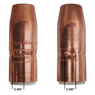 Image of two Tregaskiss nozzles showing change to crimp