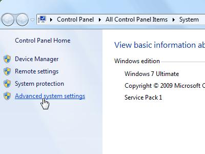 Windows 7 - Advanced system settings