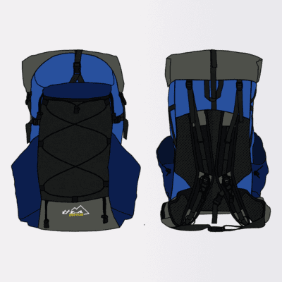 ULA STANDARD FABRIC: Semi-Full Custom Pack in Baby Blue, Dark Blue & Silver