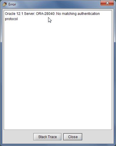 SQuirreL SQL Client - ORA-28040: No matching authentication protocol