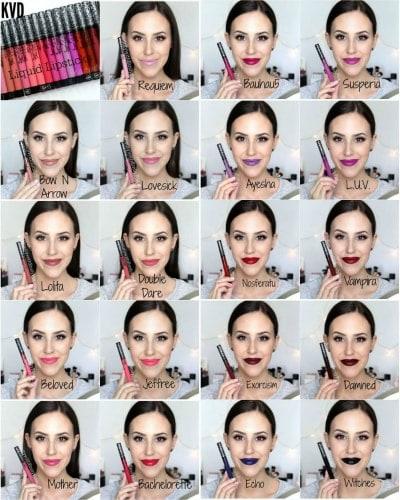 Swatches of Kat Von D Everlasting Liquid Lipstick